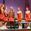 "BRYAN EATON/Staff photo. ""Spinelli"" played by Ellie Northup, center, tells cheerleading friends why she doesn't want to be called by her real name, which they found out was Jennifer, in the Newbury Elementary Schoo'sl Theater Workshop's presentation of Christmas in July. Performances are December 8 and 9 at 7:00pm, and December 10 at 1:00pm. $15 reserved all performances; $5 Saturday Dec. 9th only, K-6 student discount and<br /> $25 front row seats 100% proceeds for scholarships."