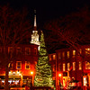 """All is Calm, All is Bright""<br /> JIM VAIKNORAS/Staff photo The Christmas Tree in Market Square seems to mimic the steeple of the Unitarian Church on a calm cold night."
