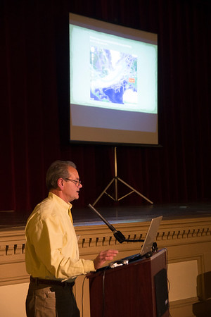 "JIM VAIKNORAS/Staff photo Mike Morris of Newburyport based Storm Surge presents ""The Next Big Storm: Preparing Newburyport for Extreme Weather"" at Newburyport City Hall Thursday night."