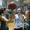 CARL RUSSO/staff photo.  Pentucket girls basketball stars, from left,  Casey Hunt, Liv Cross and Angelina Yaccubacci. 12/14/2017
