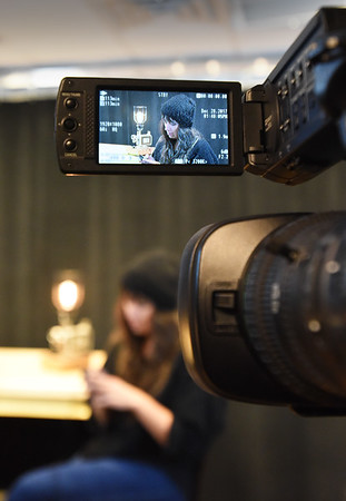 """BRYAN EATON/Staff photo. Newburyport native Nikole Beckwith, known for her award winning film """"Stockholm-Pennsylvania"""" is interviewed at Port Media. The video will be shown as part of Women's HERstory Month."""