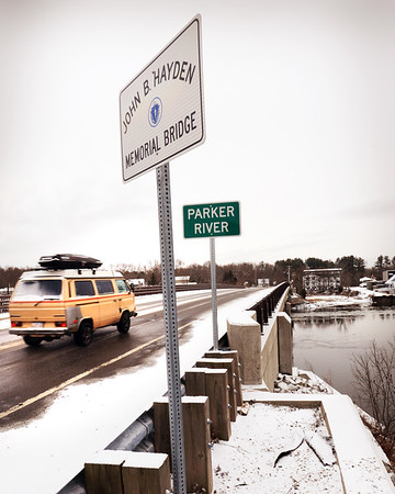 BRYAN EATON/Staff photo. The John B. Hayden Memorial Bridge on Route 1A in Newbury spans the Parker River.