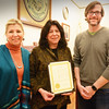 "BRYAN EATON/Staff photo. Newburyport Mayor Donna Holaday, center, presented a citation to Firehouse Center for the Arts president Lois Honegger, left, and executive director John Moynihan on Thursday afternoon. The honor was for the recent ""Firehouse Thrives"" day in honor of the center's original fundraising campaign's 30th anniversary."