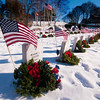 "JIM VAIKNORAS/Staff photo Wreath decorate veteran's graves at Veteran's Cemetery in Newburyport Sunday. They were put there Saturday by Wreaths Across America, a national organization, that every December places wreaths in over 1200 location. To learn more visit, <a href=""http://www.wreathsacrossamerica.org"">http://www.wreathsacrossamerica.org</a>"
