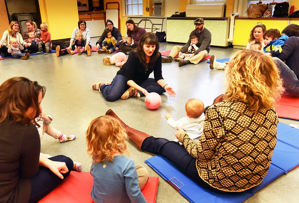 "BRYAN EATON/Staff photo. Claudia Keyian leads the group of toddlers in ""Music Rocks"" at the Newburyport Rec Center on Tuesday mornings at 9:15 a.m.  The Department of Newburyport Youth Services also hosts an open gym for pre-schoolers on Tuesday, Wednesday and Fridays at 10:00 in the old Brown School on Milk Street."