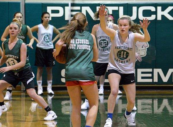 CARL RUSSO/staff photo. The Pentucket girls basketball team practices as they get ready for the start of the 2017-18 season. 12/14/2017