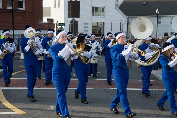 JIM VAIKNORAS/Staff photo The Georgetown High School Marching Band marches in the Merrimac Santa Parade Sunday in Merrimac.