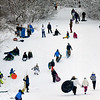 BRYAN EATON/Staff Photo. With two days of snow and no school on Tuesday, March's Hill in Newburyport was a very busy place for tubers, sledders and some just riding down on their bottoms.