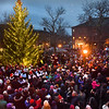 BRYAN EATON/Staff photo. Throngs filled Market Square in downtown Newburyport for the lighting of the Christmas Tree after the Greater Newburyport Rotary Club-sponsored Santa Claus Parade in photo taken from the second floor of the Brass Lyon gift shop.
