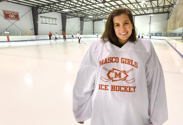 BRYAN EATON/Staff photo. Masconomet girls hockey player Molly Elmore of Newburyport.