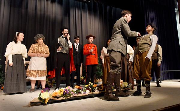 "BRYAN EATON/Staff Photo. Triton Regional High School drama students in dress rehearsal of ""Lights, Camera, Murder."""