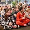 BRYAN EATON/Staff Photo. Salisbury Elementary School third-graders intently watch the move Polar Express in what has become a yearly tradition. After the show, while still in their pajamas, they snack on popped corn and hot chocolate.