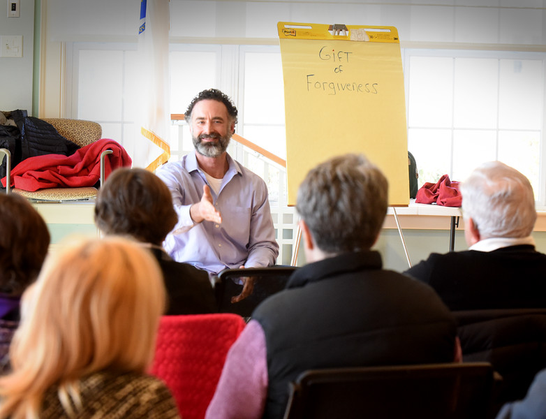 "BRYAN EATON/Staff photo. The Newburyport Senior Center hosted a Forgiveness Workshop hosted by Lou Lessard to learn and share the process of forgiveness. Lessard is a forgiveness coach and international speaker on the subject and host of ""The Power of Forgiveness"" radio show. The presentation is part of the Community Days series which is featured every Wednesday at 1:00 p.m."