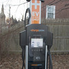 JIM VAIKNORAS/Staff photo The electric vehicle charging station at the Harris Street lot in Newburyport.
