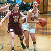 JIM VAIKNORAS/Staff photo Masconomet's Sara Fogarty as guarded by Newburyport's Anna Hickman at Masco Friday night.