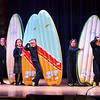 """BRYAN EATON/Staff photo. Kindergartners perform a dance number to the Beach Boy's """"Surfin' USA"""" during a talent show at the Immaculate Conception School in Newburyport on Thursday morning. They also performed a show at night for parents, part of Catholic Schools Week."""