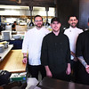 BRYAN EATON/Staff photo. Four of the two dozen chefs cooking for Great Chef's Night gather for a photo at the Poynt, from left, Risto Heino, Michael's Harborside; Jay Racki, Loretta; Nick Peters Bond, Kitchen to Aisle Catering and Andrew Swanson of the Poynt.