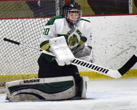 BRYAN EATON/Staff photo. Pentucket goalie Connor Meone makes the stop.