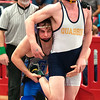 JIM VAIKNORAS/Staff photo Georgetown-Ipswich's Matt Mansfield wrestles Garrett Vartanian of Quabbin at the D3 State Tournament at Wakefield High Saturday.