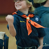 JIM VAIKNORAS/Staff photo Max Morris celebrates at the Troop 21 Pine Wood Derby Friday morning at the Bresnahan School in Newburyport.
