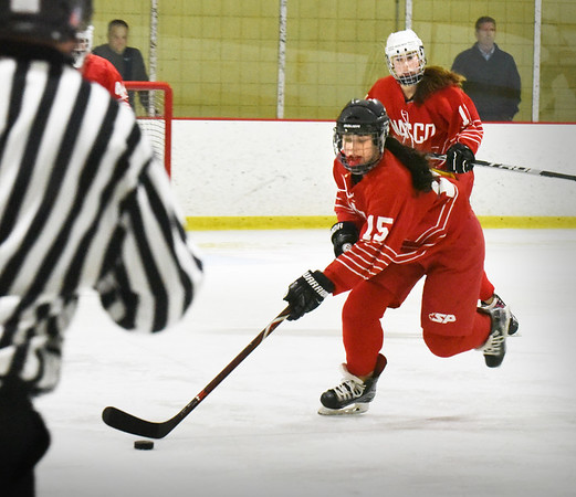 BRYAN EATON/Staff photo. Masconomet forward Samantha Kelleher takes the puck into Methuen ice.