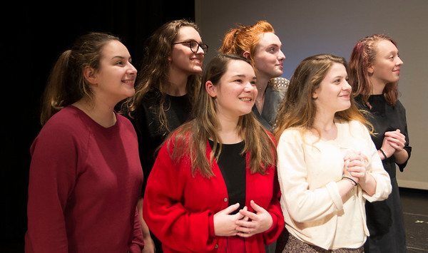"JIM VAIKNORAS/Staff photo Portraying woman waiting for their , husbands and sons to return from the war are:back Fiona Ivers, Maya Gakidis, and Hannah Rowe,front. Sarah Girard, Lauren Mirley, and Katelyn Brannelly in the Amesbury High production of ""Dear Mr. Woodwell."
