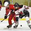 BRYAN EATON/Staff photo. Erin Irons battles with Winchester's Franny O'Brien for the puck.
