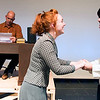 "JIM VAIKNORAS/Staff photo Joe Poirier, as Mr Woodwell, reads letter as Hannah Rowe greets Quinn Eckelkamp in the Amesbury High production of ""Dear Mr. Woodwell."
