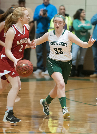 JIM VAIKNORAS/Staff photo  Mascomonet Kate Zagami brings the ball up Friday night at Pentucket.