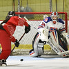 BRYAN EATON/Staff photo. Masco's Samanther Kelleher fires at goalie Kaia Hollingsworth who makes the save.