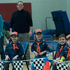 JIM VAIKNORAS/Staff photo Tiger Cubs patiently wait for the start of a heat at the Troop 21 Pine Wood Derby Friday morning at the Bresnahan School in Newburyport.