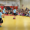 BRYAN EATON/Staff photo. Students from Londonderry Elementary School in New Hampshire have a jump rope team named the Hip Hoppin' Hawks that perform and spread the positive health message about fitness and nutrition. They were at Amesbury's Cashman School on Thursday afternoon.