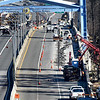 BRYAN EATON/Staff photo. With both sides of the Whittier Bridge on Interstate 95 allowing travel north and south, crews are starting work on the shared-use path on the east side of the northbound lane. It is the first such path created along a Massachusetts interstate and will afford bicyclers and pedestrians access over the Merrimack River with three viewing spots.
