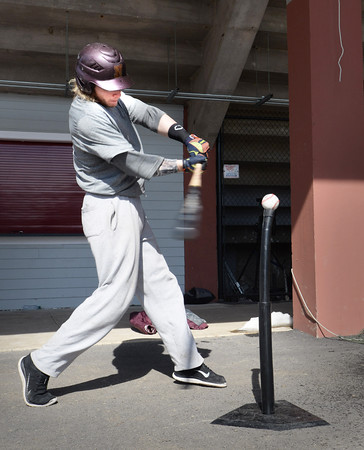 BRYAN EATON/Staff Photo. Newburyport's Ben Keeping in batting practice under World War Memorial Stadium yesterday.