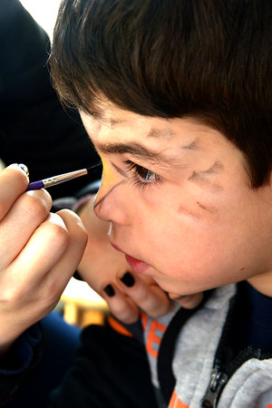 JIM VAIKNORAS/Staff photo Shahar Axelrod, 6, has his face painted like an eagle by volunteer Ilanaia Bardini at the Joppa Flats Audubon Center during the annual Eagle Festival Saturday afternoon.