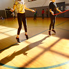BRYAN EATON/Staff photo. Ava Mullen, left, and Ashley Jones, both 10, work on a jump rope routine in Linda Gangemi's physical education class at Salisbury Elementary School on Monday morning. They're practicing for next week's Jump Rope for Heart, a fundraiser for the American Heart Association.