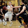 JIM VAIKNORAS/Staff photo Newburyport'sBrian Hadden makes a move to the basket against Lynnfield at Newburyport High School Friday night.