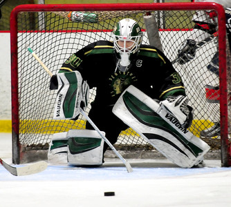 JIM VAIKNORAS/Staff photo Pentucket's  Anthony Orlando makes a stop against Lynn at the Graf Rink in Newburyport Wednesday night.