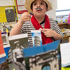 JIM VAIKNORAS/Staff photo  Hunter Sciucco dressed as a Venetian gondolier to celebrate his Italian heritage at the Salisbury Elementary School 2nd grade Passport to Learning Friday afternoon. Each 2nd grader at the school made a display and gave a short presentation about their ethnic heritage.