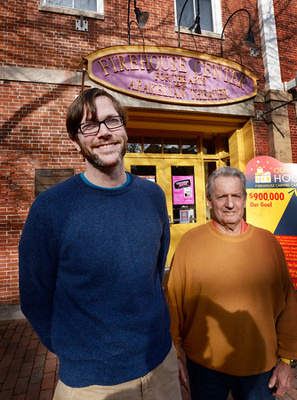 BRYAN EATON/Staff photo. John Moynihan, new executive director of the Firehouse Center for the Performing Arts in Newburyport, left, with president of the board of directors Louis Rubenfeld.