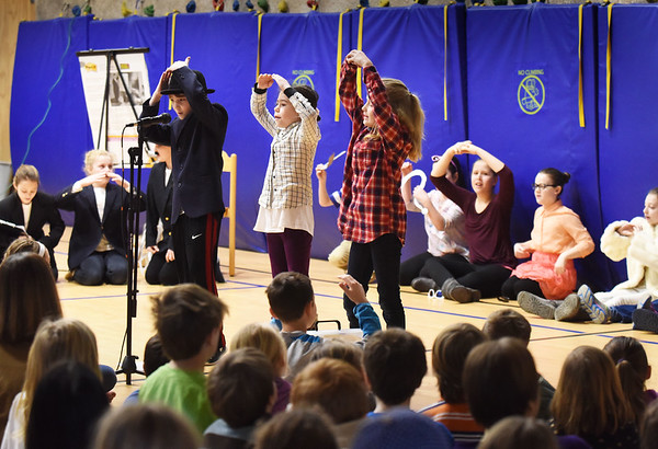 """BRYAN EATON/Staff photo. River Valley Charter School students performed some musical numbers in a play they put on Friday morning. The play """"Mastering Math,"""" is about a woman named Sherlock who wants to solve mysteries but doesn't have the problem-solving skills."""