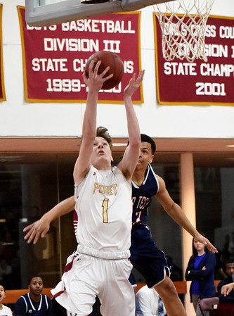 BRYAN EATON/Staff photo. Newburyport guard Robert Shay was fouled on this attempt to score.