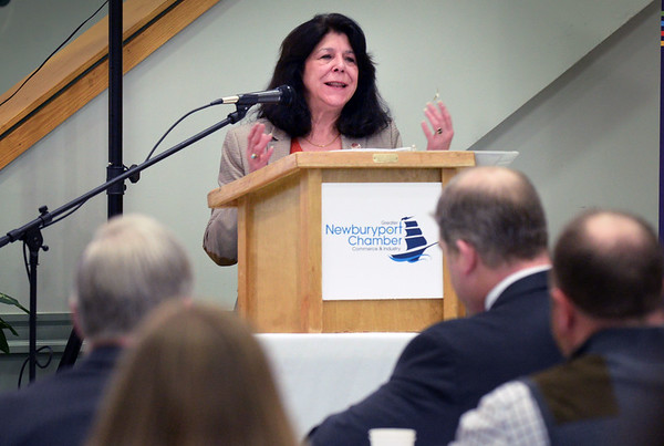 BRYAN EATON/Staff photo. Newburyport Mayor Donna Holaday speaks at the Greater Newburyport Chamber of Commerce and Industry Breakfast & Business - State of the City Address.