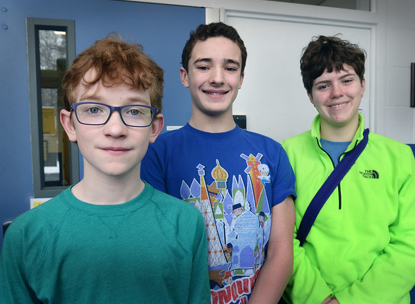BRYAN EATON/Staff photo. Seabrook Middle School geography bee winners, from left, James Quinn, 13, Duncan Collins, 14 and Anna Evans, 13.