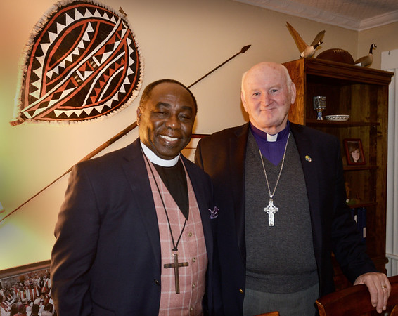 BRYAN EATON/Staff photo. Archbishop Ben Kwashi left, with The Right Reverend William L. Murdoch on a visit to the All Saints' Anglican Church in Amesbury.