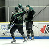 JIM VAIKNORAS/Staff photo Pentucket's Johnny Orlando and Ben Gardner celebrate their teams goal against  Amesbury at the Valley Forum in Haverhill Saturday night.