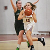 BRYAN EATON/Staff photo. Newburyport's Maggie Pons looks for an open teammate as Pentucket's Colleen Jameson covers.