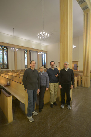 JIM VAIKNORAS/Staff photo Stuart Johnson, Amantha Moore, Rev.Christopher Ney, and Jim Robinson  talk about resent renovations to the Central Congregational Church in Newburyport Monday.
