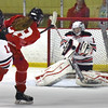 BRYAN EATON/Staff photo. Masco's Madison Brooke shoots on the net but the Winchester goalie makes the stop.