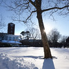 BRYAN EATON/Staff photo. Where many music events happen and people lounge around on summer days, Newburyport's Waterfront Park was a wintry scene on Tuesday as temperatures were in the low '30's. After light rain and snow on Wednesday, sun returns for the weekend with Sunday likely getting to be 50 degrees.